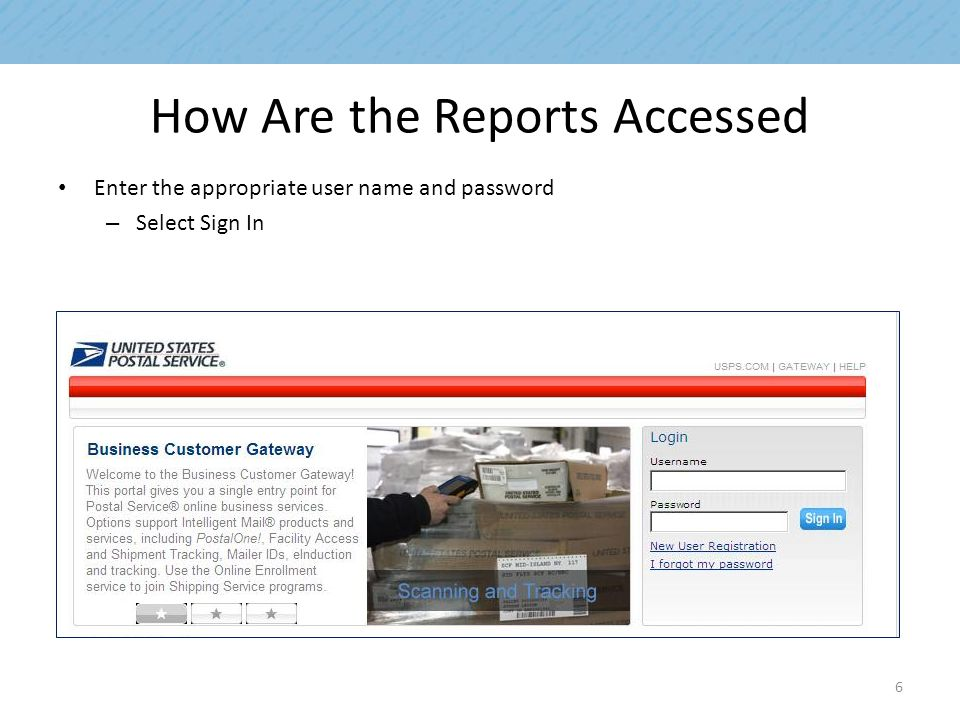 How Are the Reports Accessed Enter the appropriate user name and password – Select Sign In 6