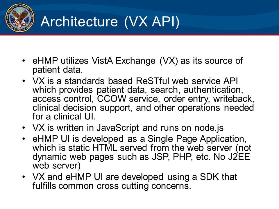 Architecture (VX API) eHMP utilizes VistA Exchange (VX) as its source of patient data. VX is a standards based ReSTful web service API which provides