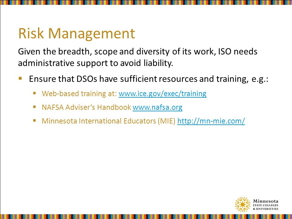 Risk Management Given the breadth, scope and diversity of its work, ISO needs administrative support to avoid liability.
