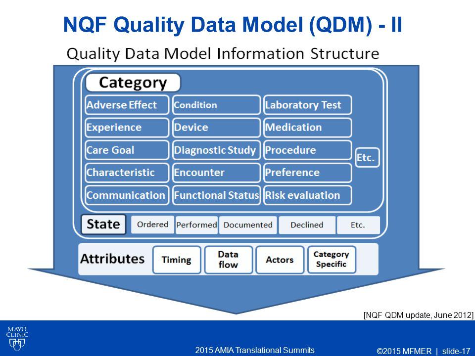 2015 AMIA Translational Summits NQF Quality Data Model (QDM) - II [NQF QDM update, June 2012] ©2015 MFMER | slide-17