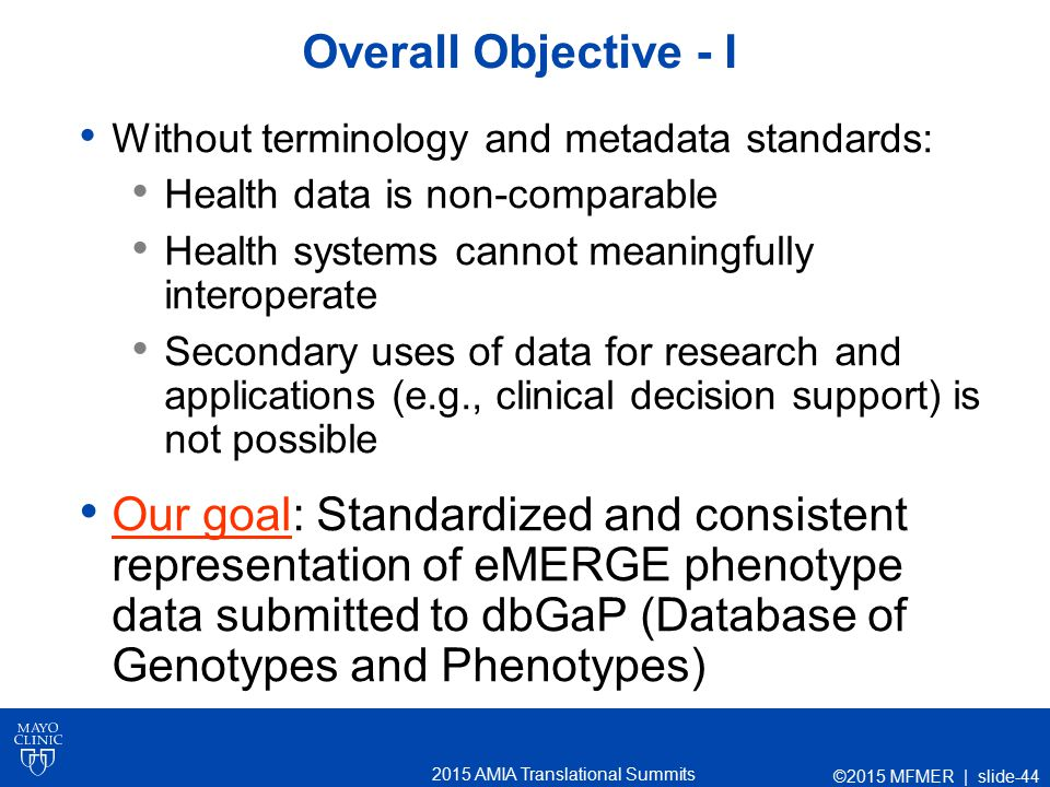 2015 AMIA Translational Summits Overall Objective - I Without terminology and metadata standards: Health data is non-comparable Health systems cannot