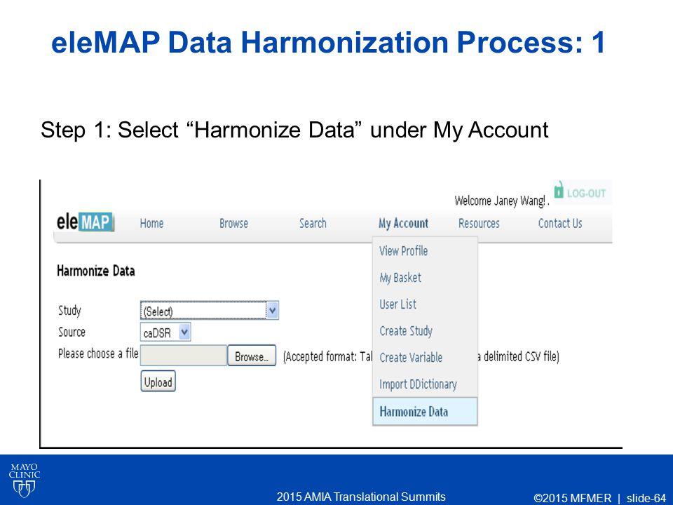 2015 AMIA Translational Summits eleMAP Data Harmonization Process: 1 Step 1: Select Harmonize Data under My Account ©2015 MFMER | slide-64
