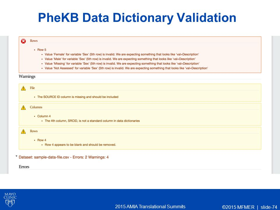 2015 AMIA Translational Summits PheKB Data Dictionary Validation ©2015 MFMER | slide-74