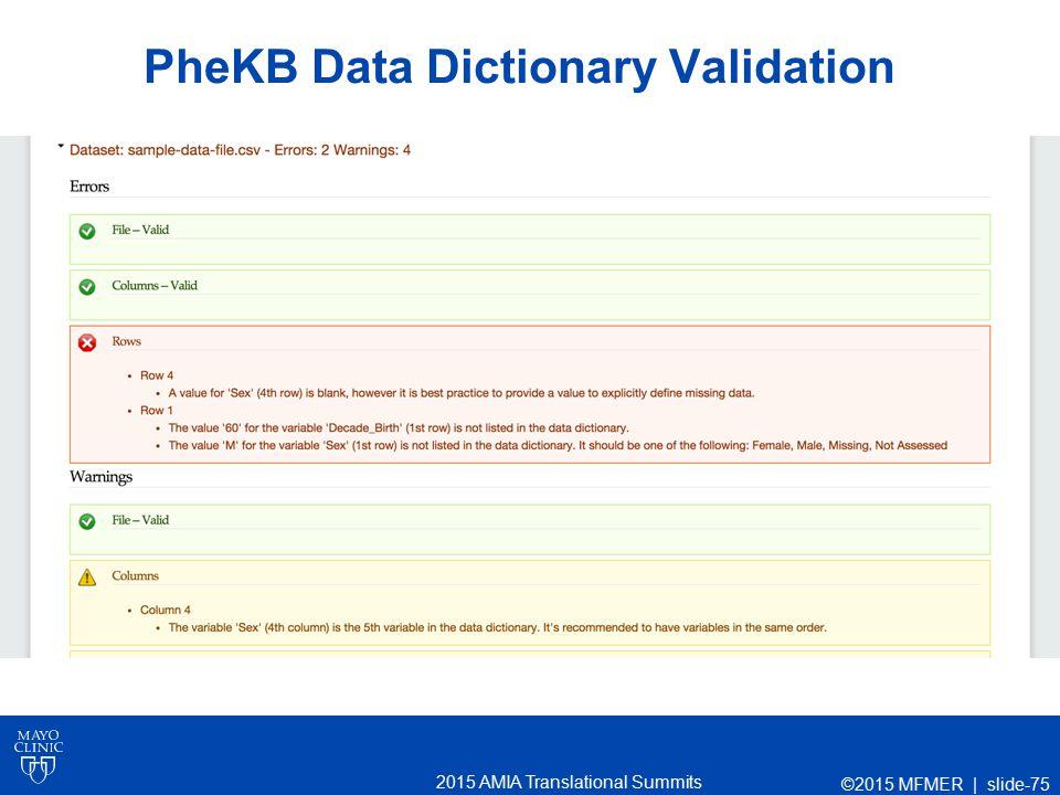2015 AMIA Translational Summits PheKB Data Dictionary Validation ©2015 MFMER | slide-75