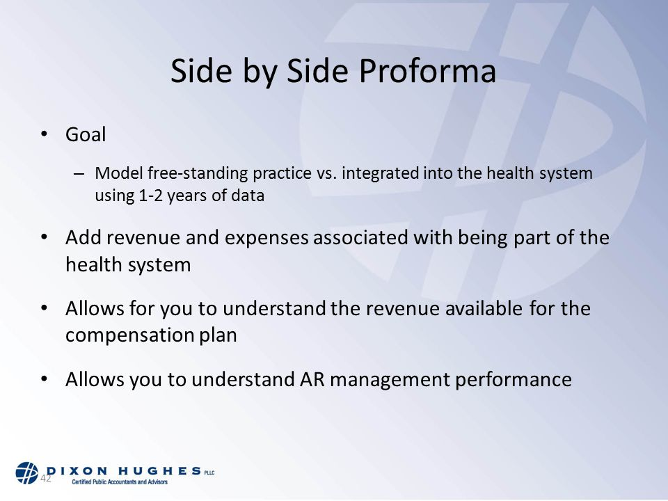 42 Side by Side Proforma Goal – Model free-standing practice vs.