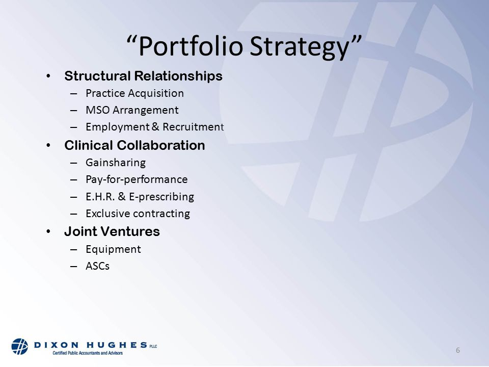 Portfolio Strategy Structural Relationships – Practice Acquisition – MSO Arrangement – Employment & Recruitmen t Clinical Collaboration – Gainsharing – Pay-for-performance – E.H.R.