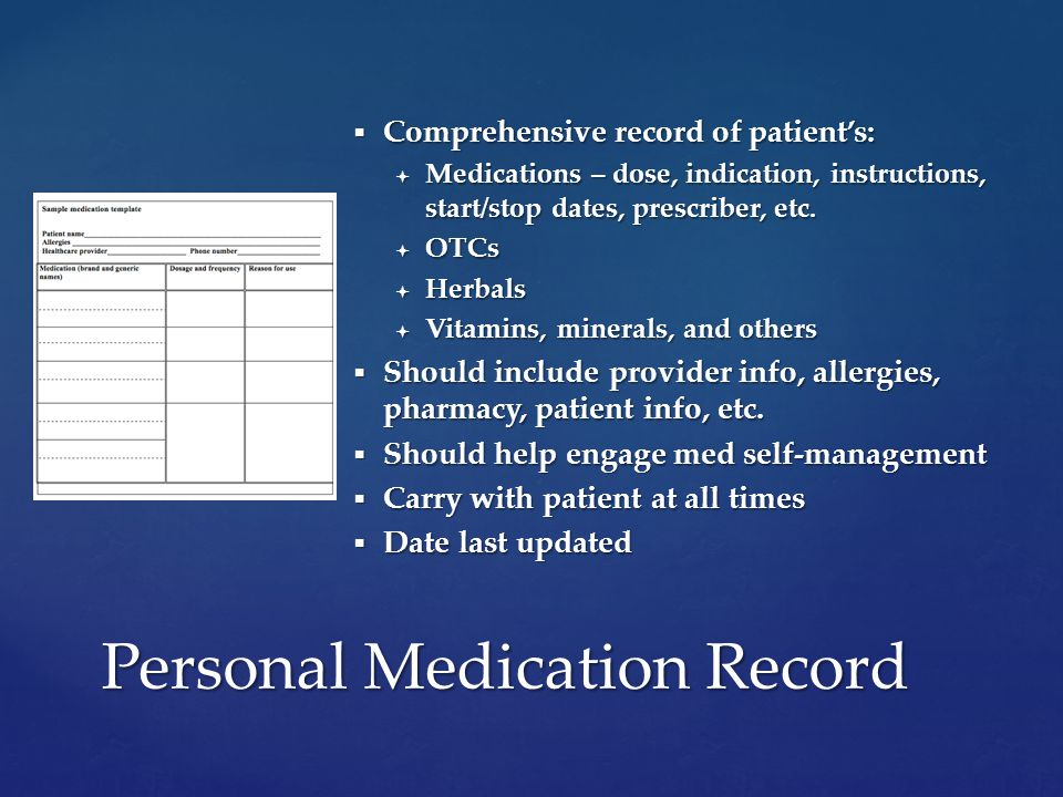  Comprehensive record of patient's:  Medications – dose, indication, instructions, start/stop dates, prescriber, etc.