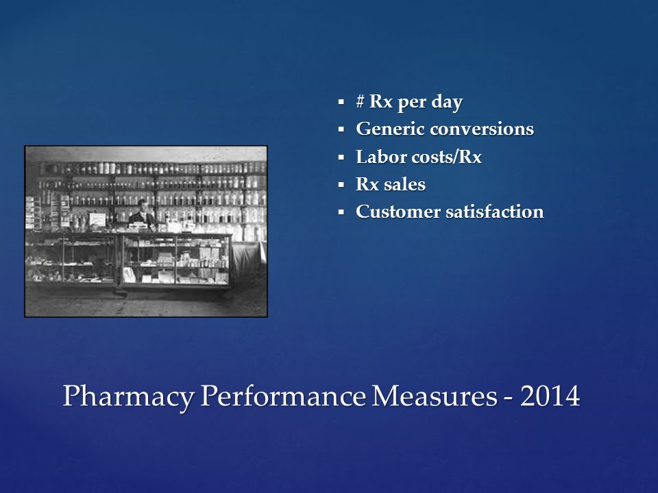  # Rx per day  Generic conversions  Labor costs/Rx  Rx sales  Customer satisfaction Pharmacy Performance Measures - 2014