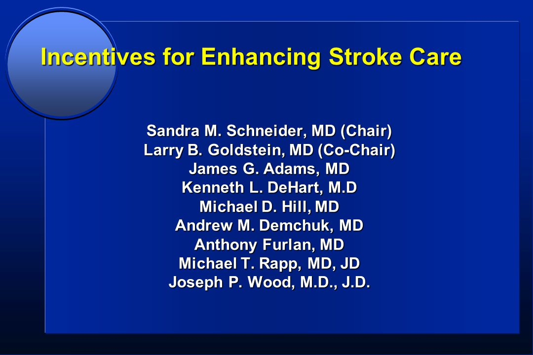 Incentives for Enhancing Stroke Care Sandra M. Schneider, MD (Chair) Larry B.