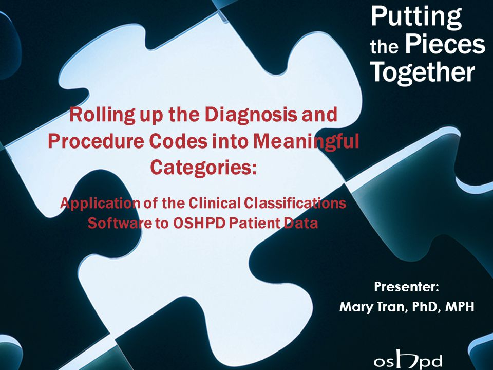 Rolling up the Diagnosis and Procedure Codes into Meaningful Categories: Application of the Clinical Classifications Software to OSHPD Patient Data Pr