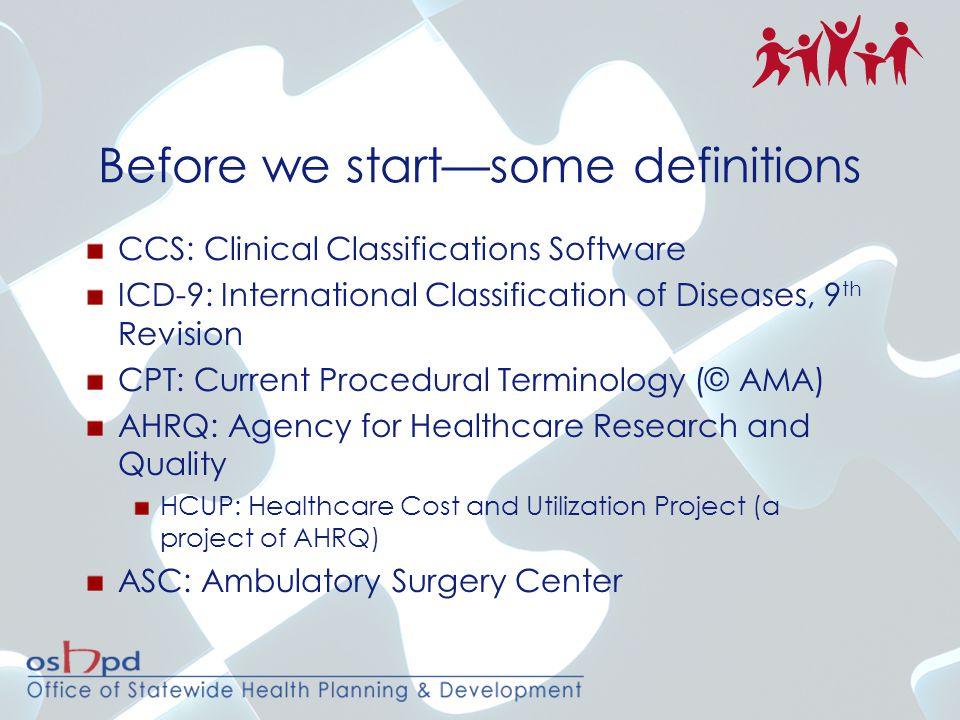 Before we start—some definitions CCS: Clinical Classifications Software ICD-9: International Classification of Diseases, 9 th Revision CPT: Current Pr