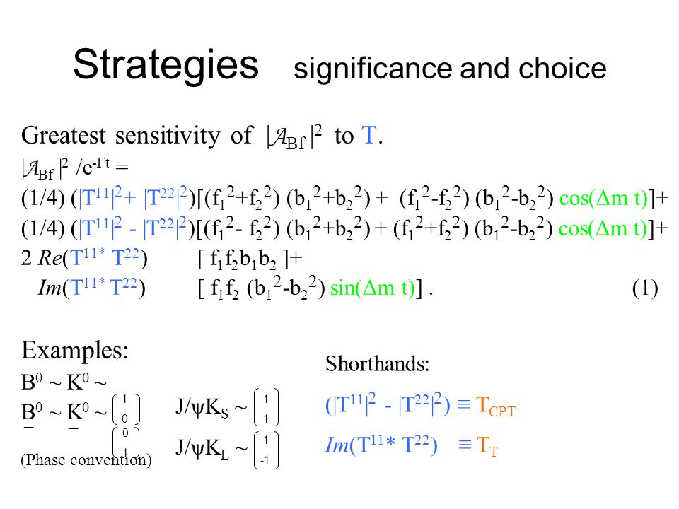 Strategies significance and choice Greatest sensitivity of | A Bf | 2 to T. | A Bf | 2 /e -Γt = (1/4) (|T 11 | 2 + |T 22 | 2 )[(f 1 2 +f 2 2 ) (b 1 2