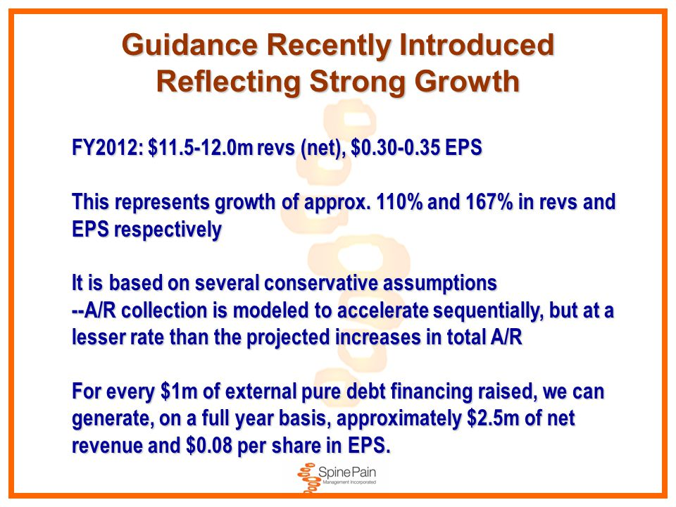 Guidance Recently Introduced Reflecting Strong Growth FY2012: $11.5-12.0m revs (net), $0.30-0.35 EPS This represents growth of approx. 110% and 167% i