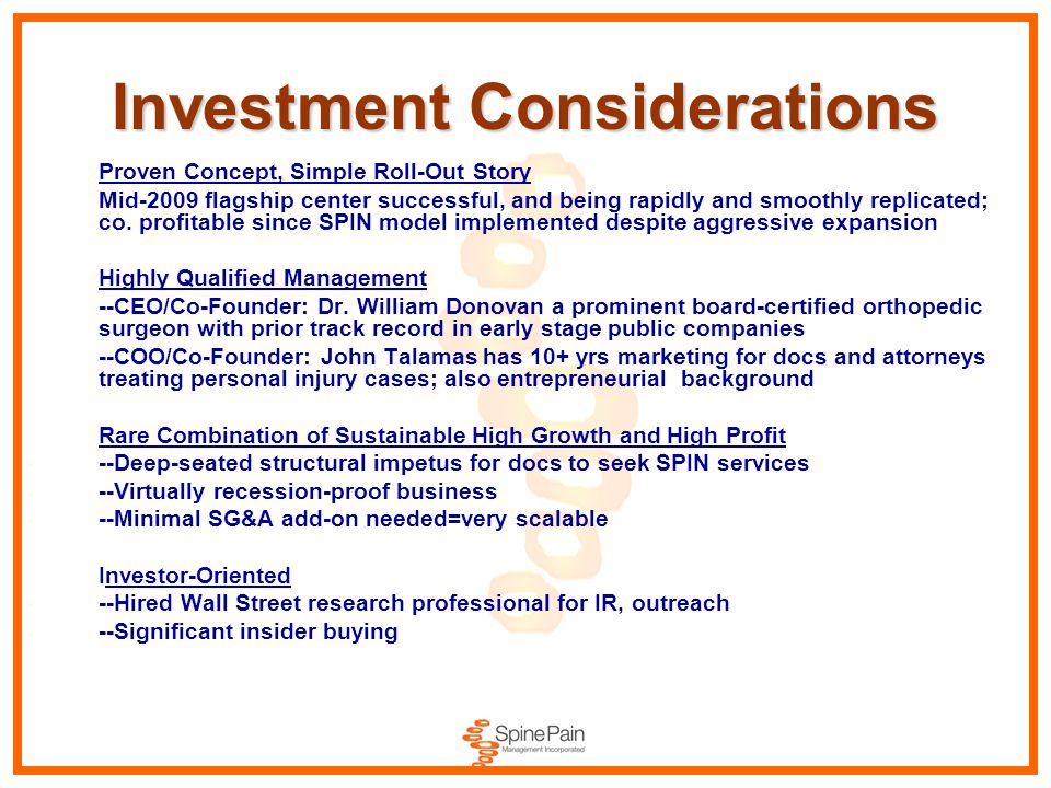 Investment Considerations Proven Concept, Simple Roll-Out Story Mid-2009 flagship center successful, and being rapidly and smoothly replicated; co.