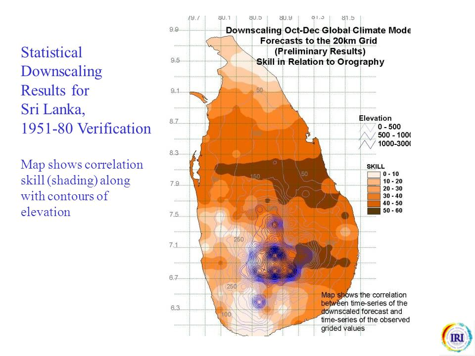 Statistical Downscaling Results for Sri Lanka, 1951-80 Verification Map shows correlation skill (shading) along with contours of elevation