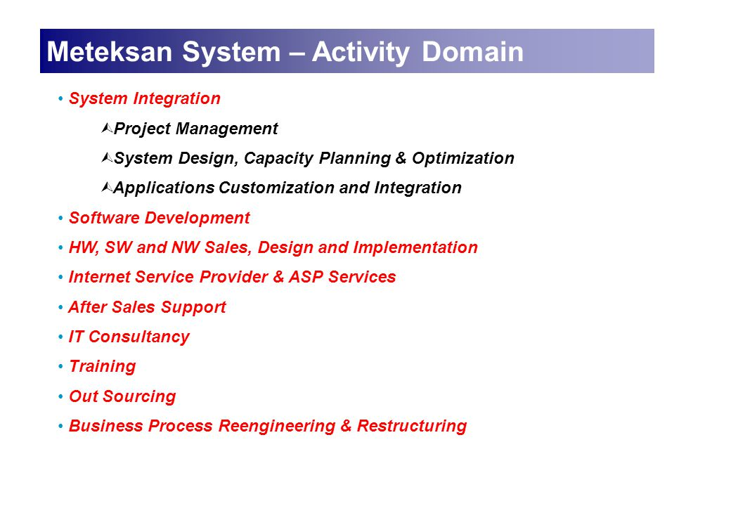 Meteksan System – Activity Domain System Integration Ù Project Management Ù System Design, Capacity Planning & Optimization Ù Applications Customizati
