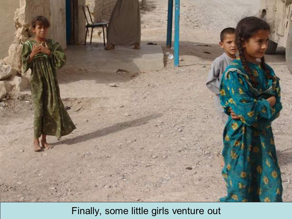 Finally, some little girls venture out