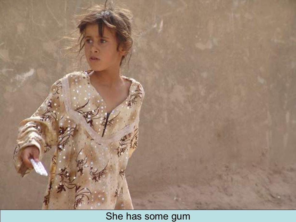She has some gum