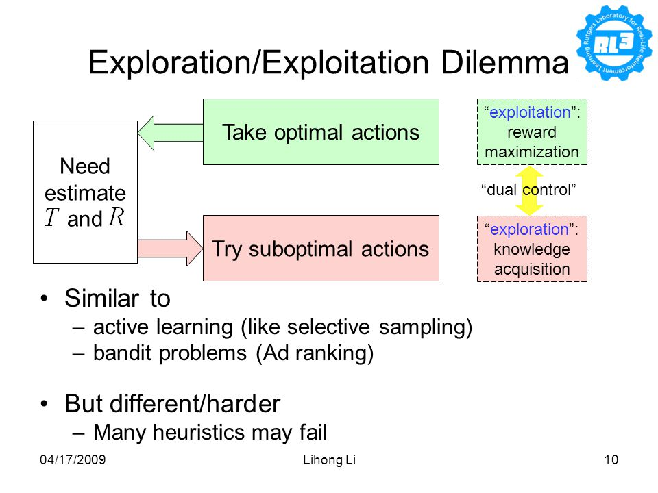 04/17/2009Lihong Li10 Exploration/Exploitation Dilemma Similar to –active learning (like selective sampling) –bandit problems (Ad ranking) But different/harder –Many heuristics may fail Take optimal actions exploitation : reward maximization Need estimate and exploration : knowledge acquisition Try suboptimal actions dual control