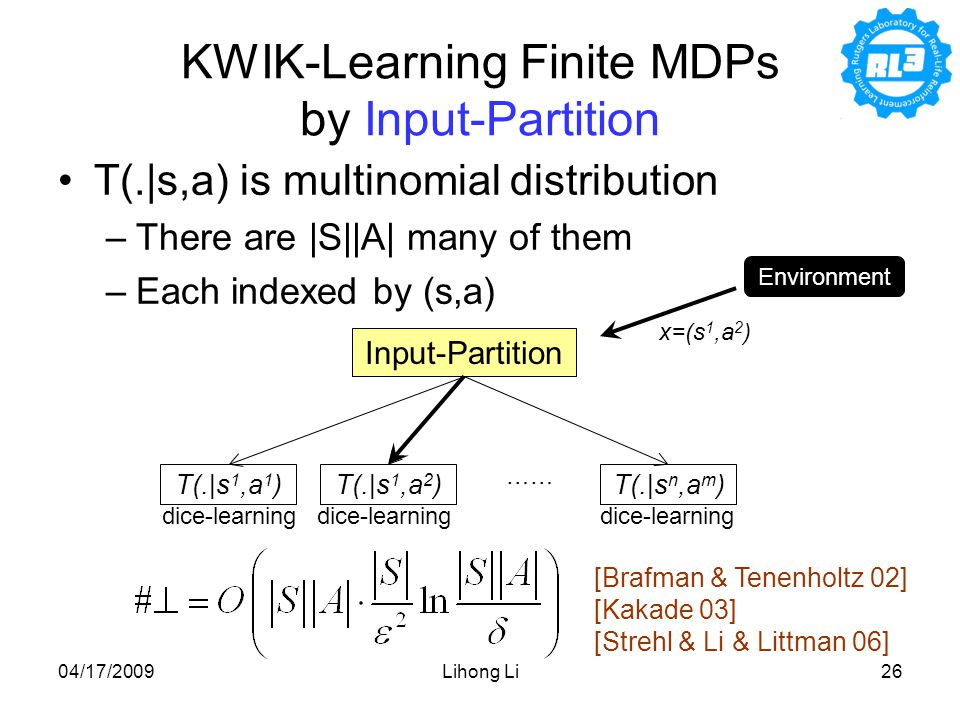 04/17/2009Lihong Li26 KWIK-Learning Finite MDPs by Input-Partition T(.|s,a) is multinomial distribution –There are |S||A| many of them –Each indexed by (s,a) Input-Partition T(.|s 1,a 1 )T(.|s 1,a 2 )T(.|s n,a m ) …… [Brafman & Tenenholtz 02] [Kakade 03] [Strehl & Li & Littman 06] Environment x=(s 1,a 2 ) dice-learning