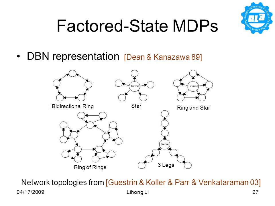 04/17/2009Lihong Li27 DBN representation [Dean & Kanazawa 89] Network topologies from [Guestrin & Koller & Parr & Venkataraman 03] Factored-State MDPs Bidirectional Ring Star Ring and Star 3 Legs Ring of Rings