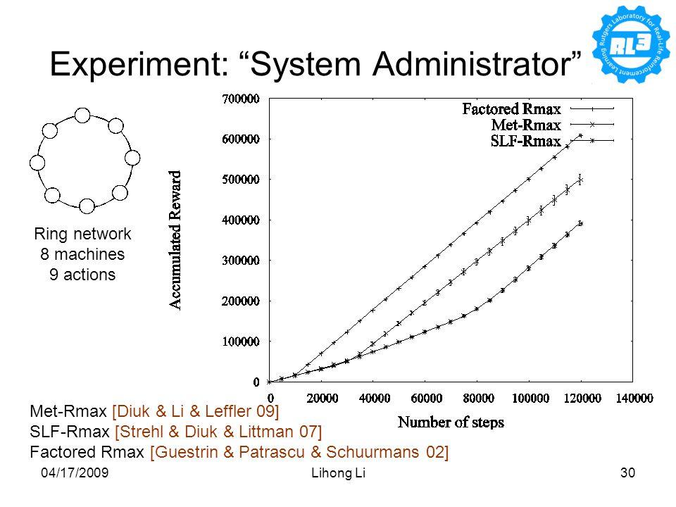 04/17/2009Lihong Li30 Experiment: System Administrator Met-Rmax [Diuk & Li & Leffler 09] SLF-Rmax [Strehl & Diuk & Littman 07] Factored Rmax [Guestrin & Patrascu & Schuurmans 02] Ring network 8 machines 9 actions