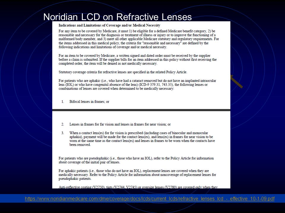 6 Noridian LCD on Refractive Lenses https://www.noridianmedicare.com/dme/coverage/docs/lcds/current_lcds/refractive_lenses_lcd_-_effective_10-1-09.pdf
