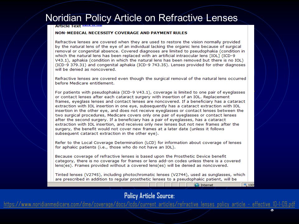 8 Noridian Policy Article on Refractive Lenses Policy Article Source: https://www.noridianmedicare.com/dme/coverage/docs/lcds/current_articles/refractive_lenses_policy_article_-_effective_10-1-09.pdf https://www.noridianmedicare.com/dme/coverage/docs/lcds/current_articles/refractive_lenses_policy_article_-_effective_10-1-09.pdf