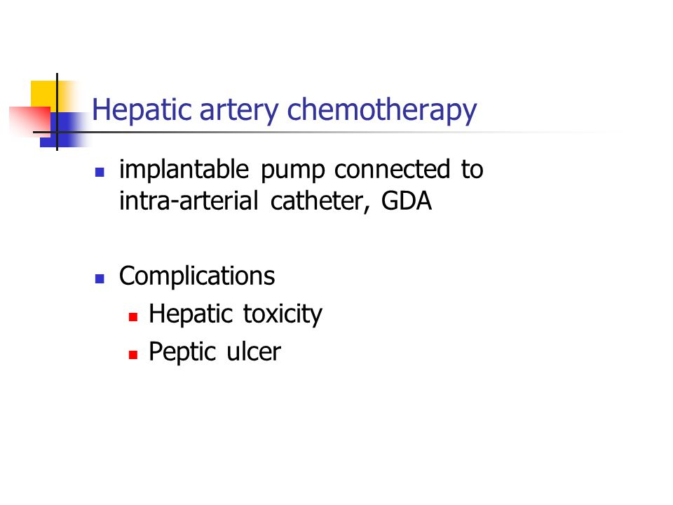 Hepatic artery chemotherapy implantable pump connected to intra-arterial catheter, GDA Complications Hepatic toxicity Peptic ulcer