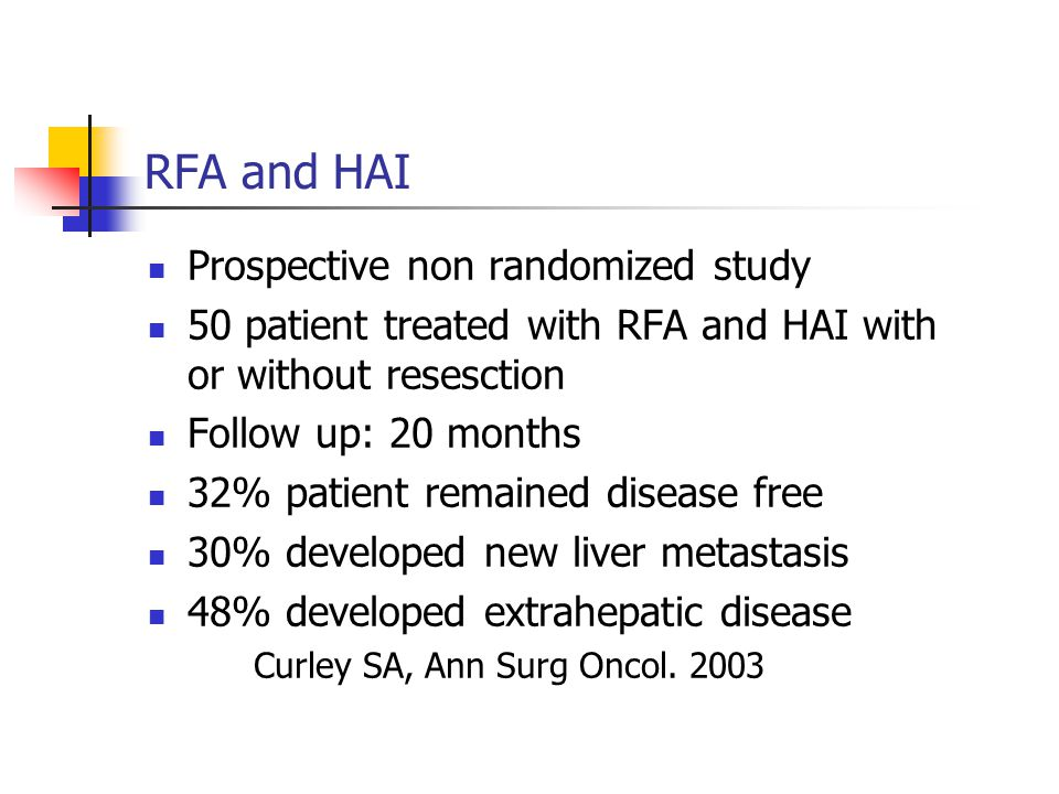 RFA and HAI Prospective non randomized study 50 patient treated with RFA and HAI with or without resesction Follow up: 20 months 32% patient remained