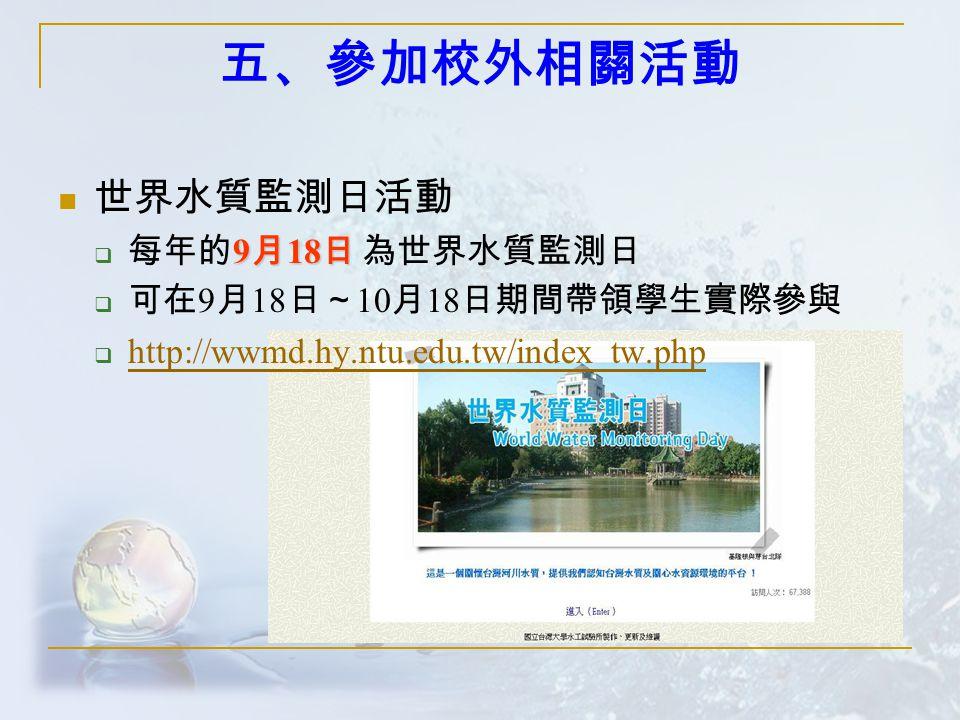 五、參加校外相關活動 世界水質監測日活動 9 月 18 日  每年的 9 月 18 日 為世界水質監測日  可在 9 月 18 日~ 10 月 18 日期間帶領學生實際參與  http://wwmd.hy.ntu.edu.tw/index_tw.php http://wwmd.hy.ntu.edu.tw/index_tw.php