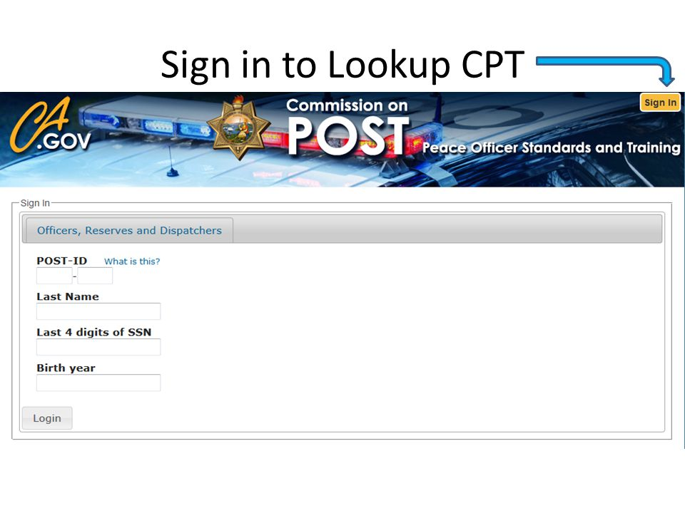 Sign in to Lookup CPT