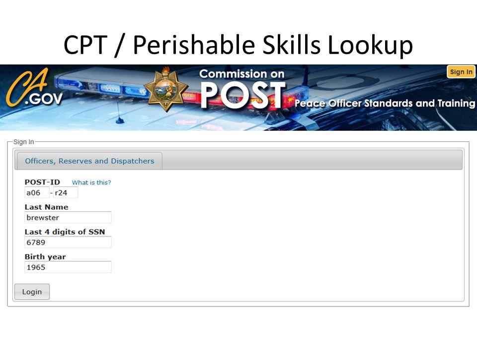 CPT / Perishable Skills Lookup