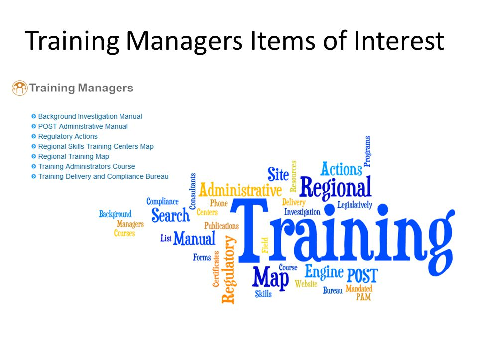 Training Managers Items of Interest