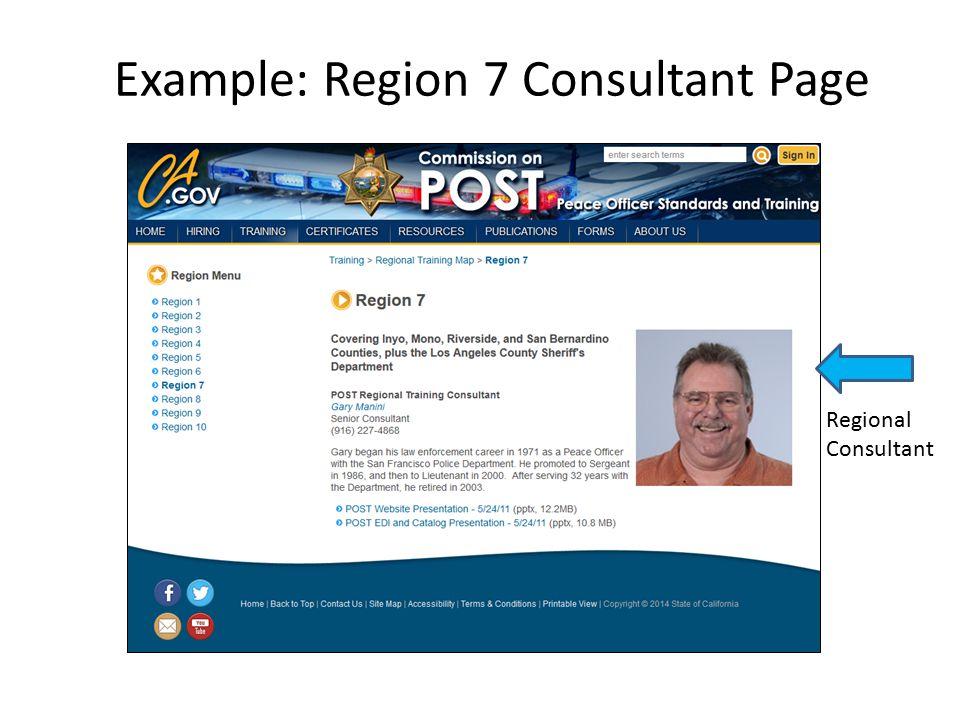 Example: Region 7 Consultant Page Regional Consultant