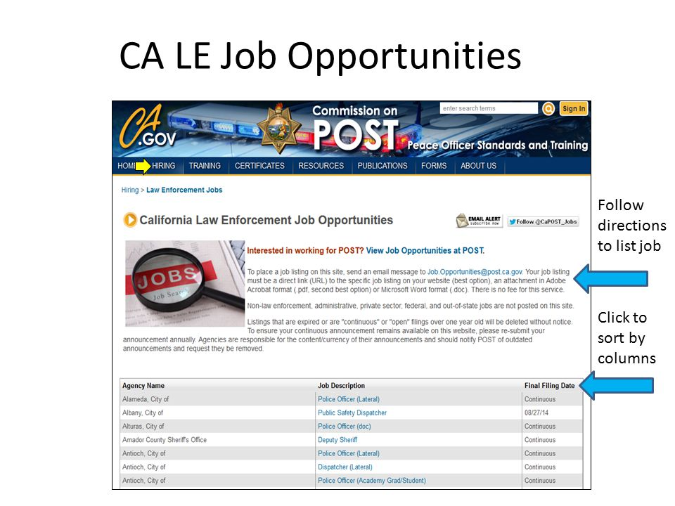 CA LE Job Opportunities Follow directions to list job Click to sort by columns