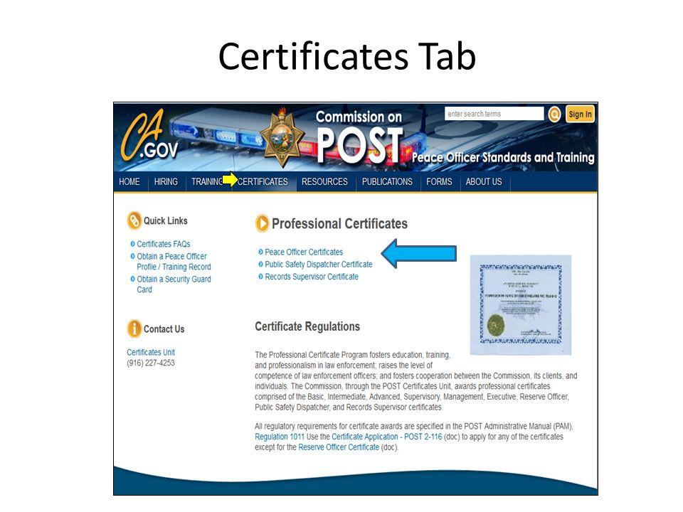 Certificates Tab