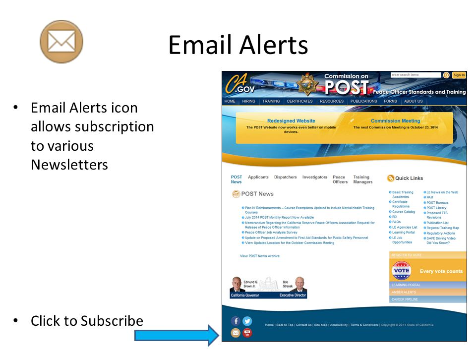 Email Alerts Email Alerts icon allows subscription to various Newsletters Click to Subscribe