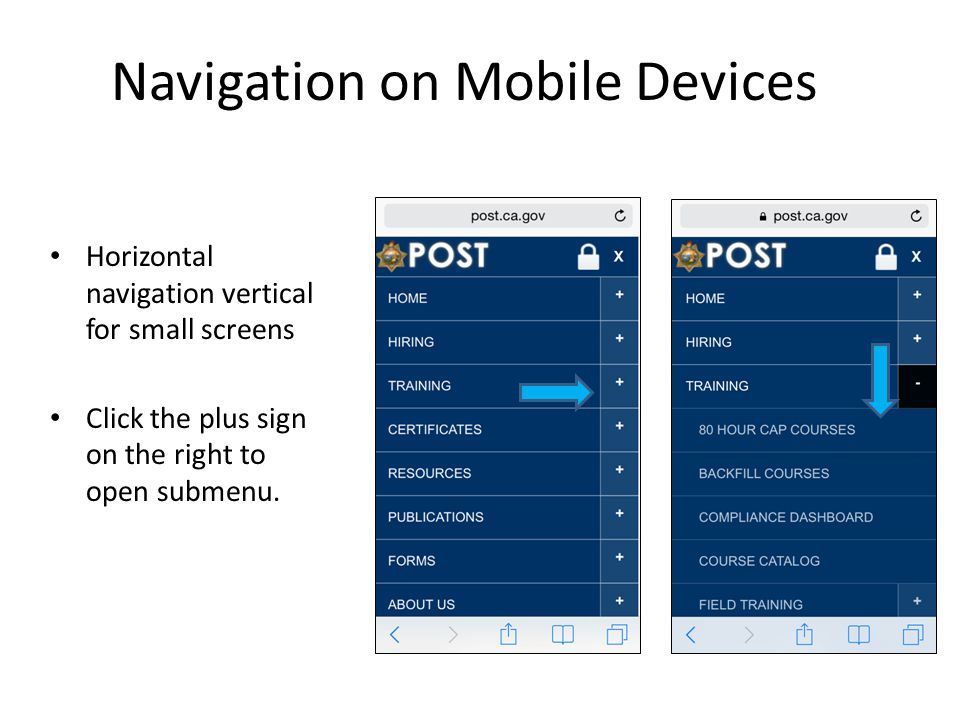 Horizontal navigation vertical for small screens Click the plus sign on the right to open submenu.