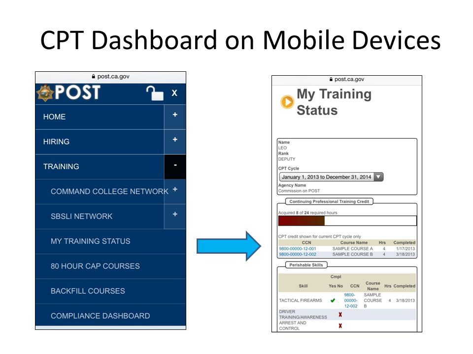 CPT Dashboard on Mobile Devices