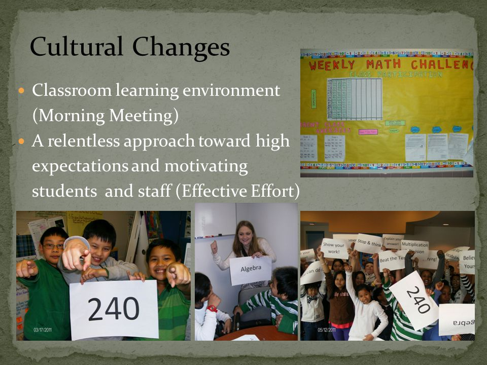 Classroom learning environment (Morning Meeting) A relentless approach toward high expectations and motivating students and staff (Effective Effort) Cultural Changes