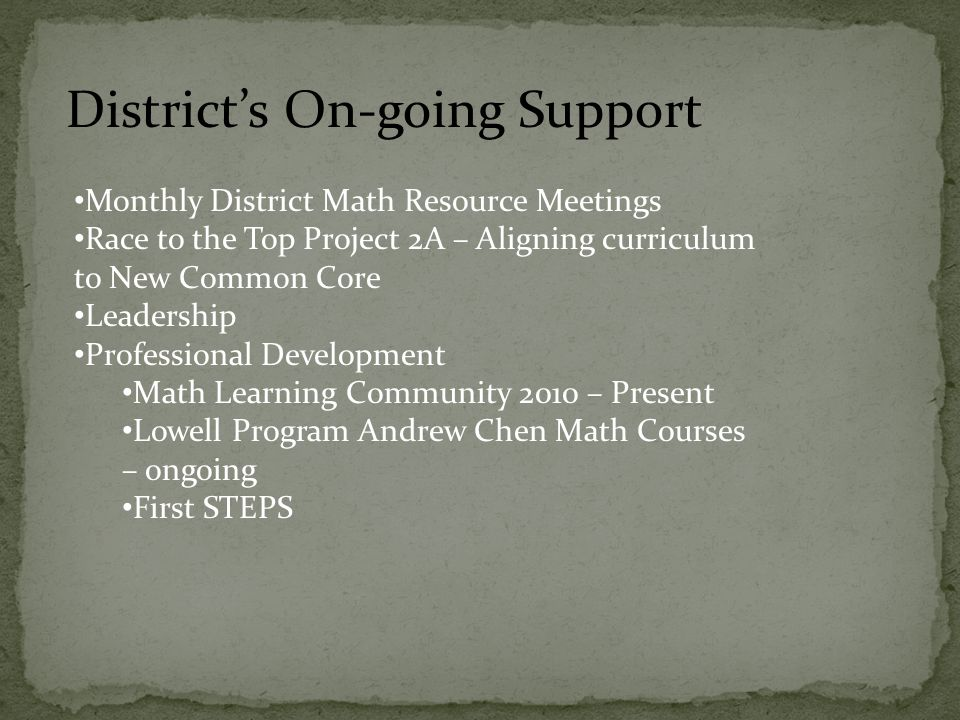 Monthly District Math Resource Meetings Race to the Top Project 2A – Aligning curriculum to New Common Core Leadership Professional Development Math L