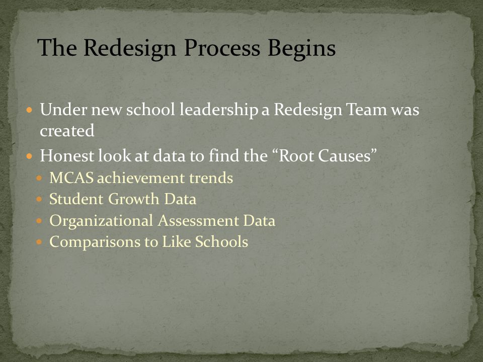 Under new school leadership a Redesign Team was created Honest look at data to find the Root Causes MCAS achievement trends Student Growth Data Organizational Assessment Data Comparisons to Like Schools The Redesign Process Begins