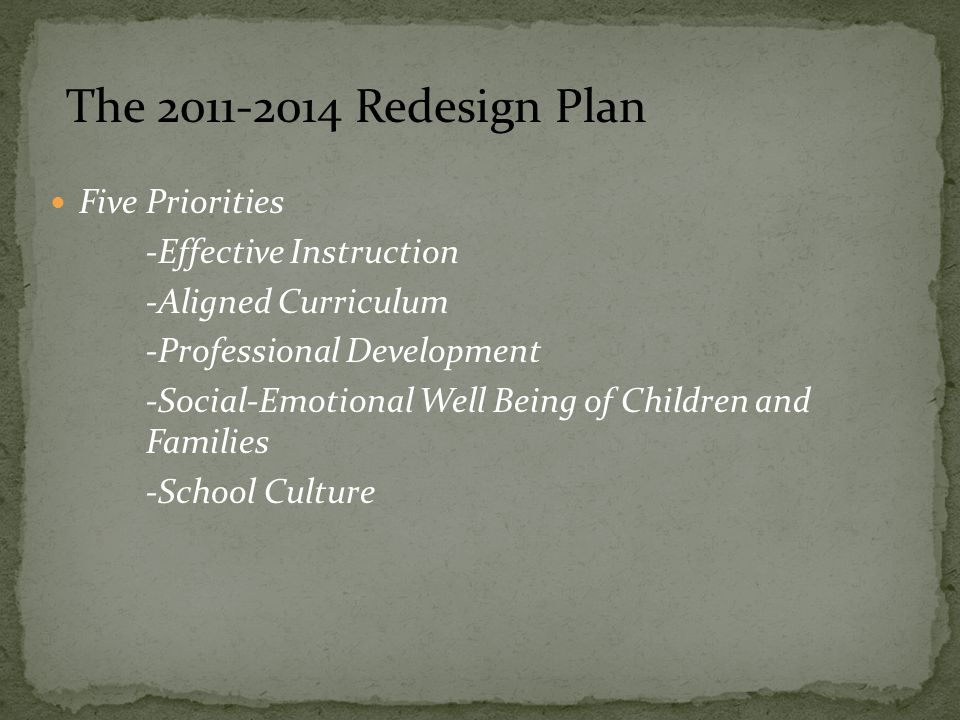 Five Priorities -Effective Instruction -Aligned Curriculum -Professional Development -Social-Emotional Well Being of Children and Families -School Culture The 2011-2014 Redesign Plan