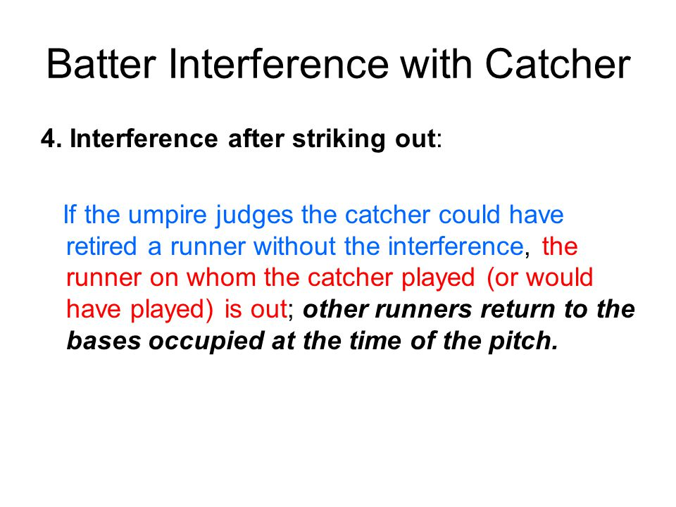 Batter Interference with Catcher 4.
