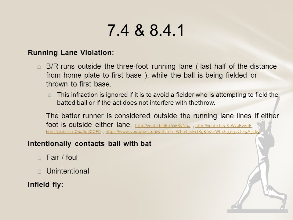 http://youtu.be/ypBGhZcjxlMhttp://youtu.be/ypBGhZcjxlM (batter interference) http://m.mlb.com/video/v21375383/?query=Batter%2Binterferencehttp://m.mlb.com/video/v21375383/?query=Batter%2Binterference (batter interference) http://youtu.be/8v2-5pnDO2shttp://youtu.be/8v2-5pnDO2s (batter interference) http://youtu.be/sX-dG2y4ANwhttp://youtu.be/sX-dG2y4ANw (batter interference) https://www.youtube.com/watch?v=x-3QtOinyUMhttps://www.youtube.com/watch?v=x-3QtOinyUM (b/r interence with catcher attempt to field – 7.3.5) http://youtu.be/lGaNejO7rIohttp://youtu.be/lGaNejO7rIo (batter interference - start at 2:15) https://www.youtube.com/watch?v=6igrMoYgvK8&list=WL4C33137CFF9A3169https://www.youtube.com/watch?v=6igrMoYgvK8&list=WL4C33137CFF9A3169 (backswing interference) http://youtu.be/TjmcHaBLOv8http://youtu.be/TjmcHaBLOv8 (back swing interference) http://m.mlb.com/video/v24357217/?query=Batter%2Binterferencehttp://m.mlb.com/video/v24357217/?query=Batter%2Binterference (batter interference – bunt attempt) http://m.mlb.com/video/v27458713/?query=Batter%2Binterferencehttp://m.mlb.com/video/v27458713/?query=Batter%2Binterference (batter interference – bunt attempt) http://m.mlb.com/video/v22102985/?query=Batter%2Binterferencehttp://m.mlb.com/video/v22102985/?query=Batter%2Binterference (batter interference – bunt attempt – bunting twice) https://www.youtube.com/watch?v=VJvhC_ULjkw&list=WL4C33137CFF9A3169https://www.youtube.com/watch?v=VJvhC_ULjkw&list=WL4C33137CFF9A3169 (batter interference – start at 4:23) https://www.youtube.com/watch?v=otEDlhwwwsI&list=WL4C33137CFF9A3169https://www.youtube.com/watch?v=otEDlhwwwsI&list=WL4C33137CFF9A3169 (batter interference) https://www.youtube.com/watch?v=uSSt_A3CHTE&list=WL4C33137CFF9A3169https://www.youtube.com/watch?v=uSSt_A3CHTE&list=WL4C33137CFF9A3169 (infield fly – double play) http://youtu.be/oWpO5bGzD28http://youtu.be/oWpO5bGzD28 (infield fly) http://youtu.be/tvWKWvrVfrIhttp://youtu.be/tvWKWvrVfrI (intentionally dropped ball / interference - WS - Jackson) http://m.mlb.com/video/v11759303/must-c-controversial-interference-costs-texas/?query=coaches%2Binterferencehttp://m.mlb.com/video/v11759303/must-c-controversial-interference-costs-texas/?query=coaches%2Binterference coaches interference