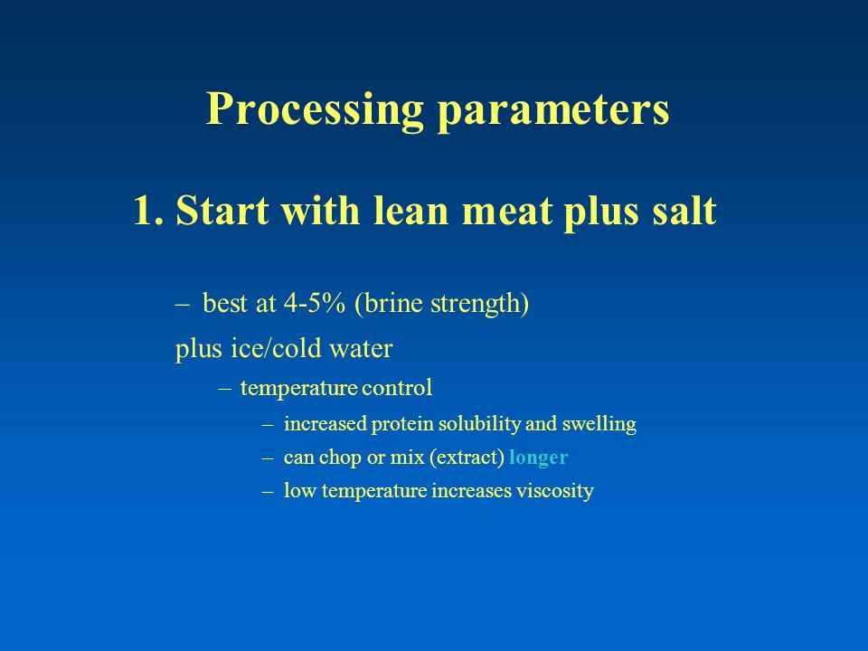 Processing parameters 1.