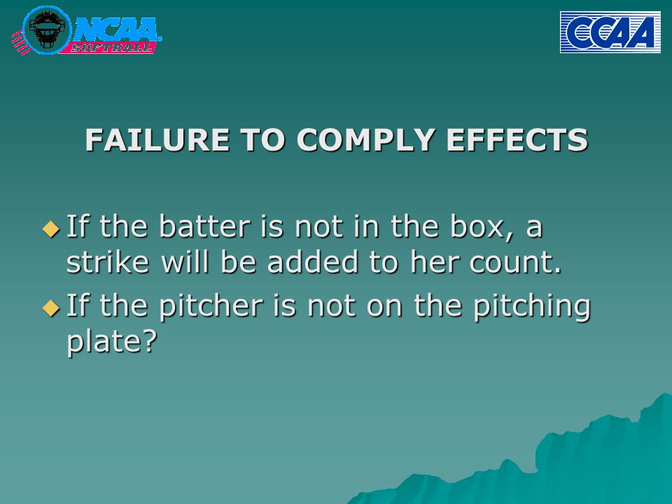 FAILURE TO COMPLY EFFECTS  If the batter is not in the box, a strike will be added to her count.