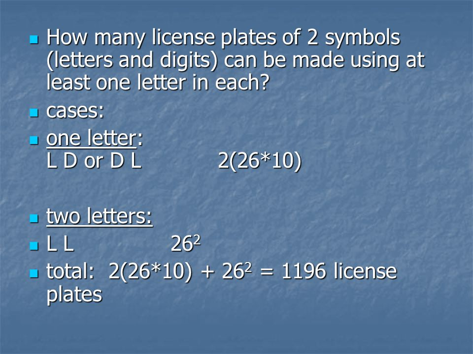 How many license plates of 2 symbols (letters and digits) can be made using at least one letter in each.