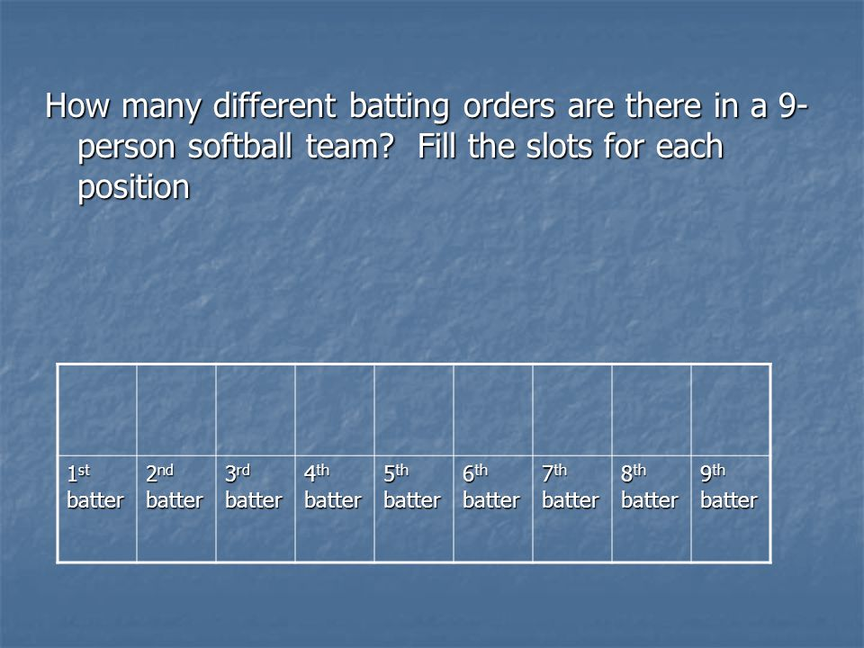 How many different batting orders are there in a 9- person softball team.